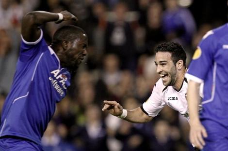 Rami festeja su segundo gol ante el Valencia. (AFP)