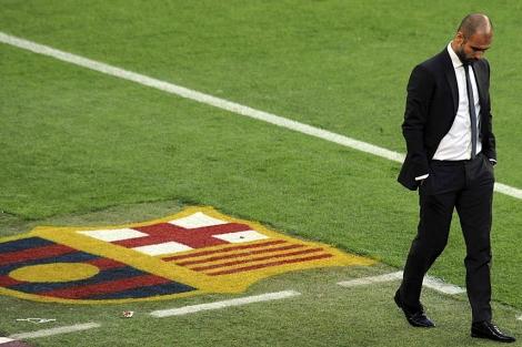 Pep Guardiola, durante un encuentro en el Camp Nou.   Reuters