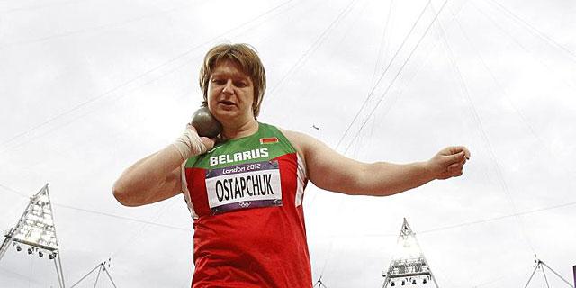 Nadzeya Ostapchuk durante la final de la prueba de lanzamiento de peso| Efe