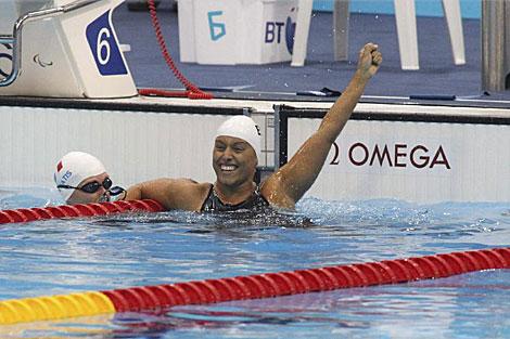 Teresa Perales, tras su oro en 100 metros libre. | Paulino Oribe / Efe