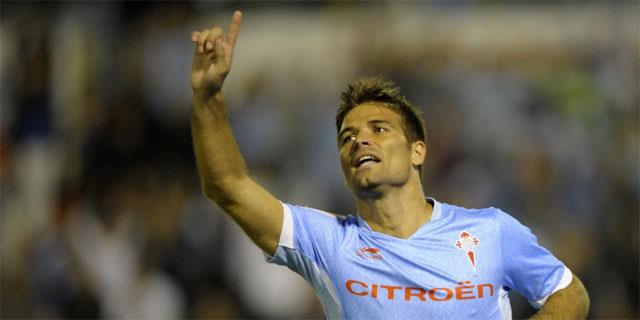 De Lucas celebra el segundo gol del Celta al Sevilla. | Efe