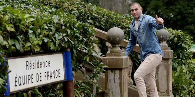 Benzema, a su llegada a la concentración de la selección francesa. | Afp