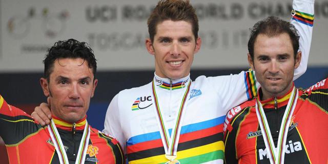 El podio del Mundial: Rui Costa (C), Joaquim Rodriguez (I) y Alejandro Valverde (D). | Efe