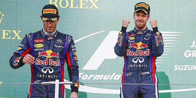 Webber y Vettel, en el podio de Suzuka. (Foto: Efe)