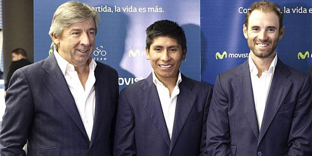 Unzue, Quintana y Valverde, durante el acto de Telefónica en Madrid. (Foto: Efe)