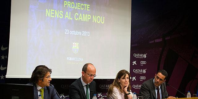 Freixa, Cardoner, Monje y Vidal-Abarca, durante la presentación del proyecto. / FOTO: fcbarcelona.com