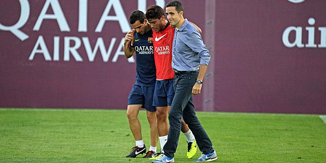 Jonathan dos Santos se retira lesionado del entrenamiento. | Foto: fcbarcelona.es