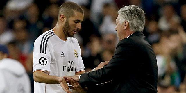 Benzema, en el momento de su cambio ante la Juventus. | Efe
