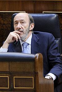 Alfredo Pérez Rubalcaba, ministro del Interior, hoy en el Congreso de los Diputados. (Foto: Bernardo Díaz)
