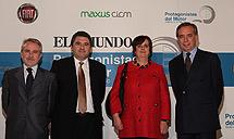 Ortín (Fiat), De la Torre y Novo (CICM) y el embajador de Italia, Pasquale Terraciano.
