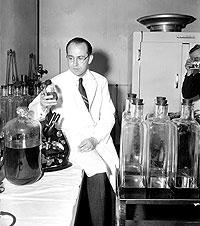 El Dr. Salk posa en su laboratorio tras el anuncio de la vacuna. (Foto: AP)