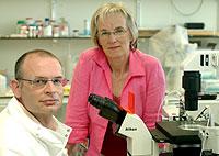 Dos de los investigadores, el doctor Miodrag Stojkovic (izqda.) y la profesora Alison Murdoch (dcha.), en el laboratorio de Newcastle (Foto: Craig Connor   EFE)