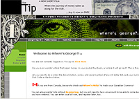 Portada de la página en la que se basa el estudio (Foto: WhereisGeorge.com)