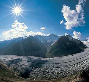 El impacto del cambio climático se nota en glaciares como el de Aletsch, en Suiza. (Foto:EFE)