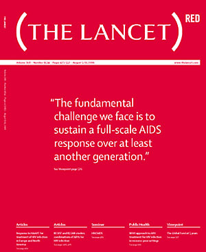Portada del número especial 'The Lancet' rojo