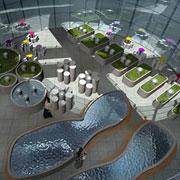El jardín interior se inspira en componentes celulales, como endosomas (izda.) y mitocondrias.