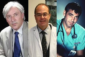 De izqda a dcha., el cirujano y el médico firmantes del estudio y el 'pediatra' de ficción George Clooney (Foto: BMJ)