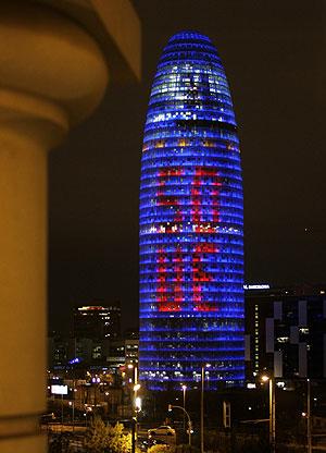 La Torre Agbar celebra el 50 aniversario del Tratado de Roma (Foto: Gustau Nacarino | Reuters)
