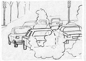 Ilustración de la contaminación de los coches. (EL MUNDO)