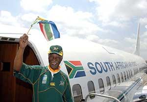 El presidente de Sudáfrica, con los colores de su país. (Foto: EFE)