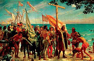 Un cuadro rememora la llegada a Las Indias. (Foto: EL MUNDO)