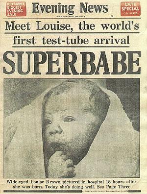 La portada del 'Evening News' invitaba a conocer al primer 'superbebé' probeta (Foto: Nature)