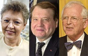 Françoise Barré-Sinoussi, Luc Montagnier y Harald zur Hausen. (Foto: AFP)