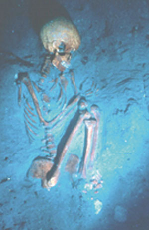 Imagen submarina de uno de los esqueletos. (Foto: I. Hershkovitz, Universidad de Tel-Aviv, y E. Galili, Israel Antiquity Authority)