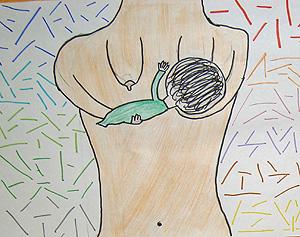 Uno de los dibujos realizados por niños del 12 de Octubre