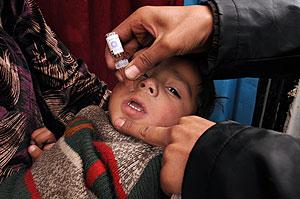Un niño afgano recibe una dosis de la vacuna contra la polio. (Foto: AFP)