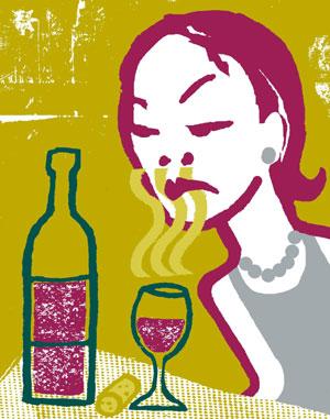 Una mujer ante una copa de vino. (Ilustración: El Mundo)