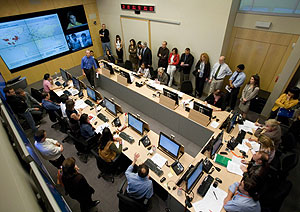 Centro estratégico de operaciones de la OMS desde donde se sigue la evolución de la gripe (Foto: OMS | AP)