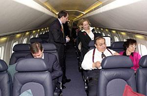 Pasajeros antes del despegue del avión. (Foto: Stefan Rousseau)