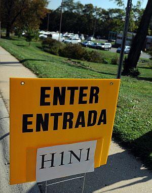 Cartel que indica dónde se pone la vacuna contra el H1N1 en Maryland (Afp)