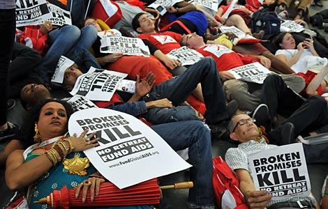 Un grupo de activistas, en la inauguración de la Conferencia Internacional. | AFP