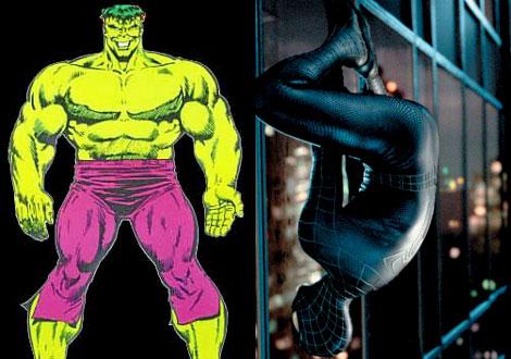El increíble Hulk (izq.) y el Spiderman más oscuro (dcha.)