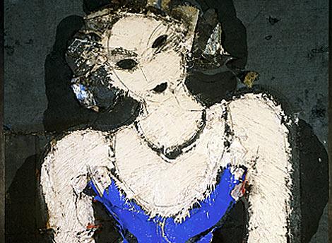 Un detalle de 'Retrato de mujer sentada', de Manolo Valdés.
