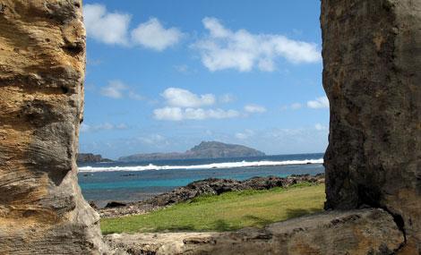 Paisaje de la isla del Pacífico.   Lawrence Bartlett