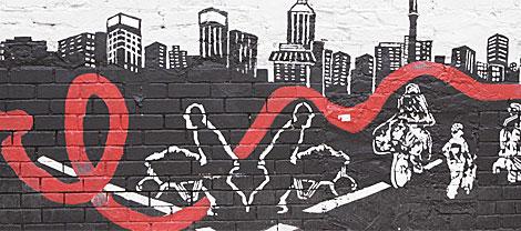 Un mural con el lazo del sida en Johanesburgo (Sudáfrica).| Denis Farrell
