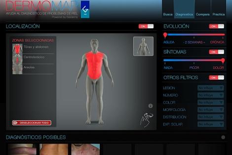 Pantalla real de la aplicación DermoMap HD