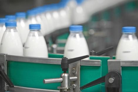 Cadena de producción de botellas de leche.| El Mundo