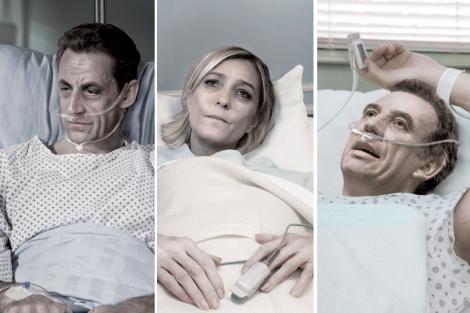 Sarkozy, Le Pen y Bayrou, en un fotomontaje. | Asociación Derecho a Morir Dignamente