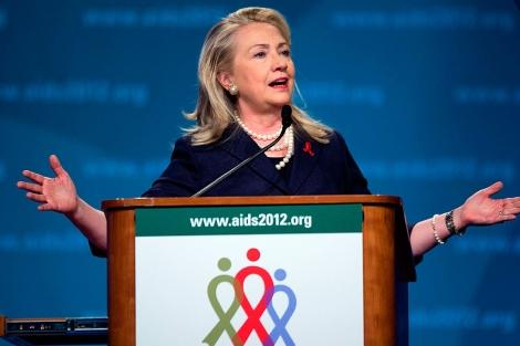 La Secretaria de Estado de EEUU en la Conferencia Internacional sobre Sida. | AFP