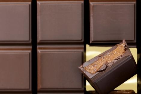 Tableta de chocolate en unos sellos belgas