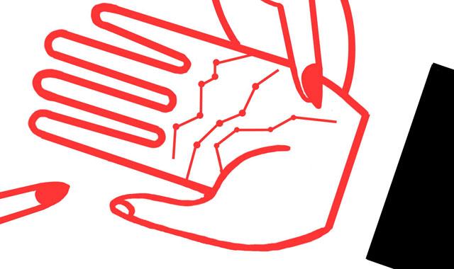 Una ilustración muestra unas manos de hombre y mujer entrelazadas