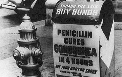Un cartel en blanco y negro sobre el uso de la penicilina contra esta ETS.| CDC