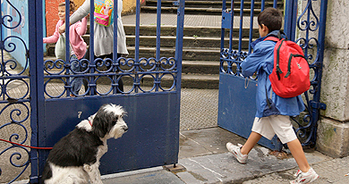 Un niño entra en un colegio del País Vasco.| Alfredo Aldai