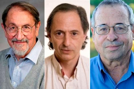 De izqda. a dcha., Karplus, Levitt y Warshel. | EL MUNDO