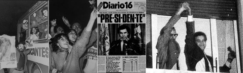 Imágenes de la noche en que el PSOE ganó por primera vez las elecciones