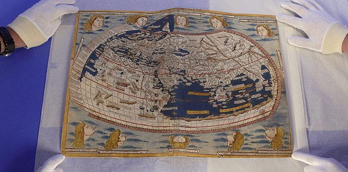 Uno de los mapamundis robados de la Biblioteca Nacional.